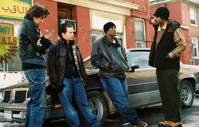 Van links naar rechts: Garrett Hedlund, Mark Wahlberg, Tyrese Gibson en André Benjamin in Four Brothers. Beeld