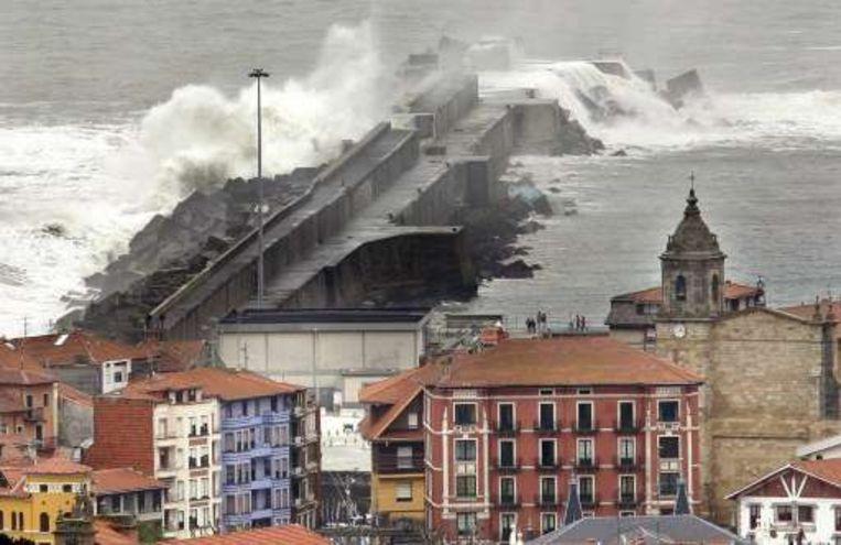 Bilbao (Spanje) kreeg het vandaag al flink te verduren. Beeld UNKNOWN