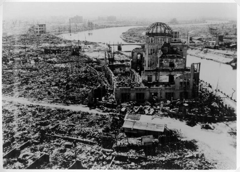 Hiroshima na de ontploffing van de kernbom. Beeld epa