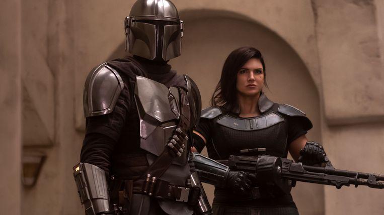Pedro Pascal en Gina Carano in 'The Mandalorian' Beeld Lucasfilm