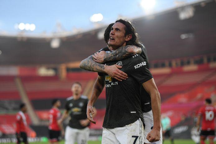Edinson Cavani hielp Manchester United gisteren met twee goals aan een overwinning op Southampton.