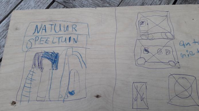 Kindertekening voor behoud van de 'nauurspeeltuin' op mooie plekken langs de route van het mogelijk toekomstig vrachtverkeer voor de aanleg van het ecovat in Het Dorp in Arnhem,