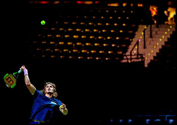 Stefanos Tsitsipas traint in Ahoy ABN AMRO Tennis 2019 Foto ; Pim Ras