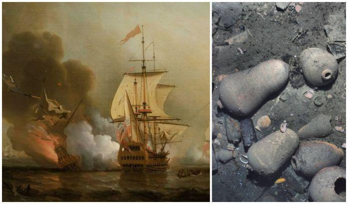 De vernietiging van de San José op een schilderij van  Samuel Scott. Rechts een van de foto's die gemaakt werden van het wrak.