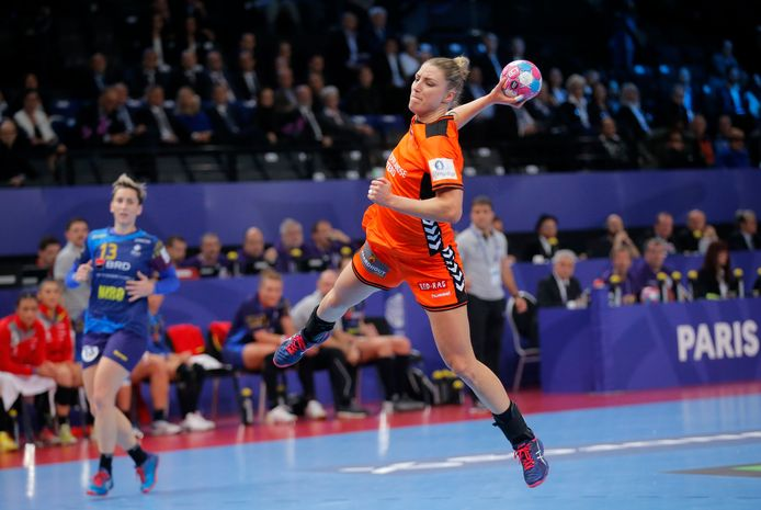 Nycke Groot toen ze nog wél in actie kwam voor het nationale handbalteam.