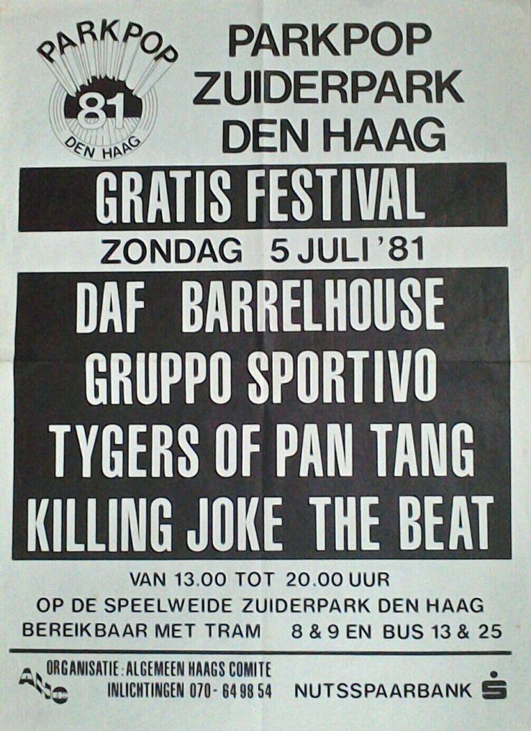 Affiche van de eerste editie van Parkpop, 1981. Beeld Parkpop