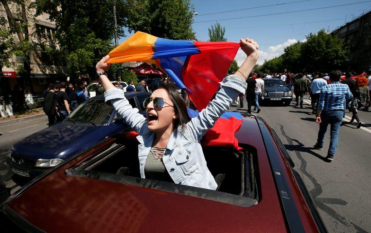 Betogers in de Armeense hoofdstad Jerevan. Beeld REUTERS