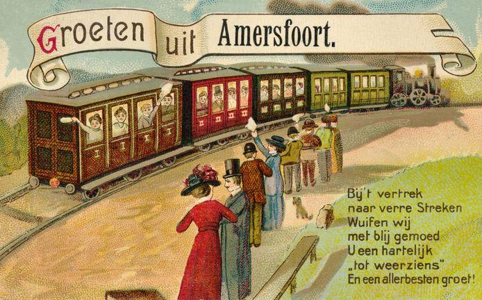 Een ansichtkaart uit begin twintigste eeuw. Amersfoort maakte reclame met de goede spoorverbinding.