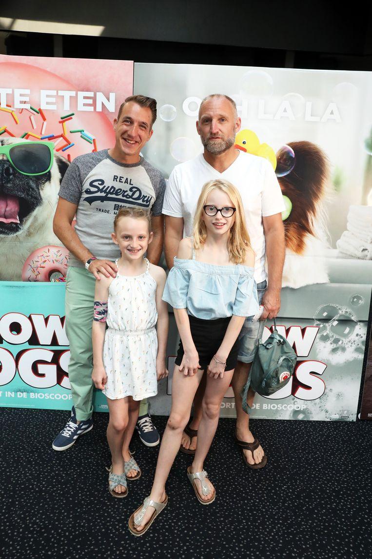 Jan Van Looveren en kids Pippa en Lilou, met Andy Peelman