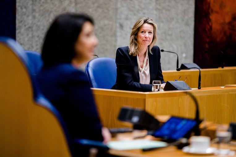 Demissionair Minister Kajsa Ollongren van Binnenlandse Zaken en Koninkrijksrelaties (D66) in de Tweede Kamer. Beeld ANP