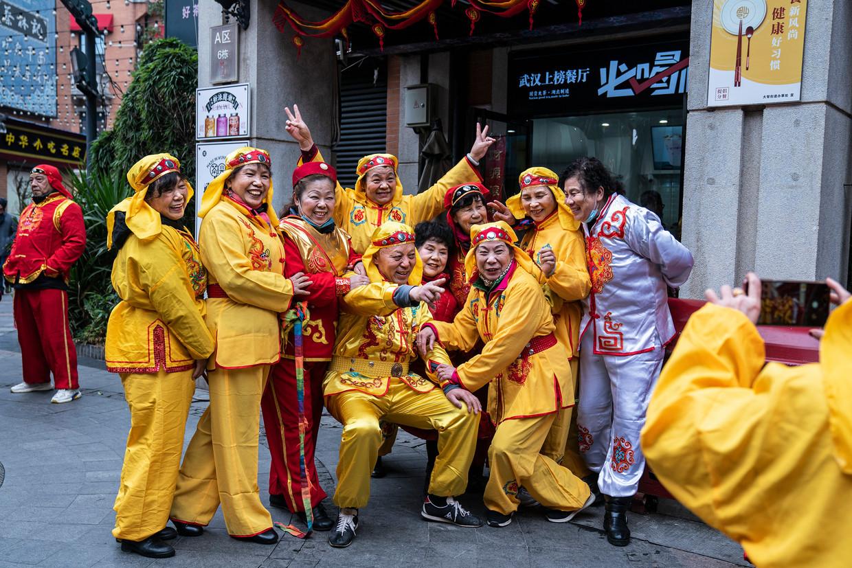 Feest in Wuhai bij het Lantaarn Festival het afgelopen weekeinde. Beeld Getty Images