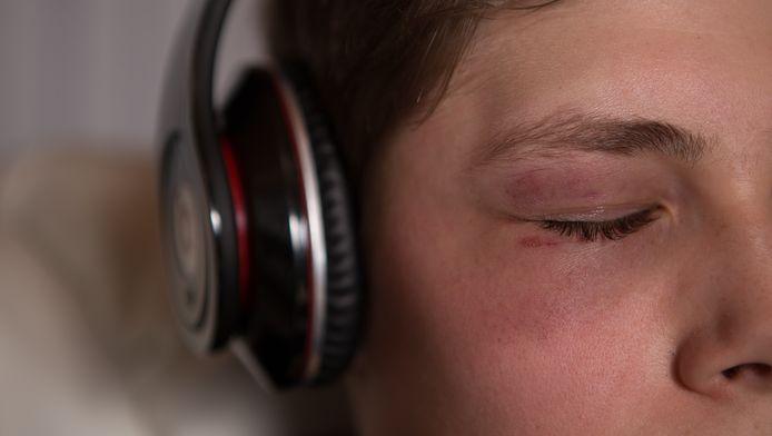 Jordan met zijn 'Beats'-hoofdtelefoon.