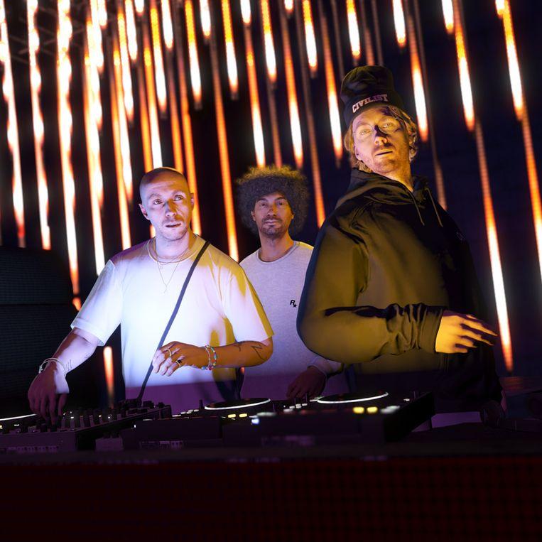 De dj-tafel in The Music Locker, in het spel GTA. Met van links naar rechts de avatars van Joy Orbison, Moodymann en Mac DeMarco. Beeld