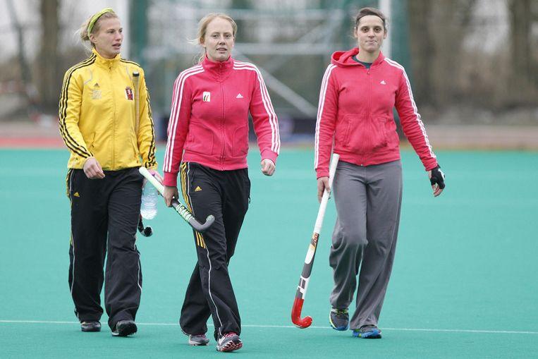 Gaelle Valcke, Jill Boon en Louise Cavenaile vorige week op training. Beeld BELGA