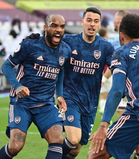Arsenal na halfuur ruim achter bij West Ham, maar dankzij Lacazette toch nog een punt