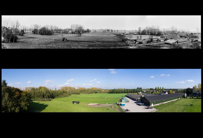De panoramafoto uit 1979 die Ben van Veelen gebruikte om de nieuwe weg voor de Eindhovense wijk Blixembosch, dwars door Aanschot,  tegen te houden. Onder de foto op dezelfde locatie uit 2017, gemaakt door Maikel van den Wildenberg en Arne Olivier, met een drone.