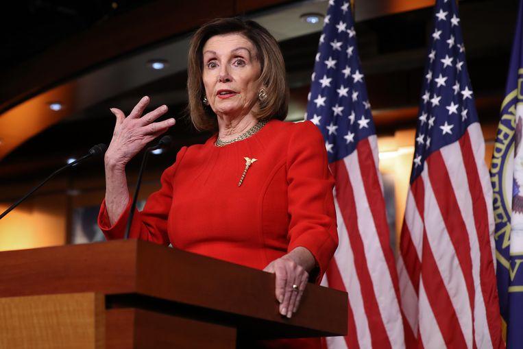 Op een bewerkte video, enthousiast verspreid door Trump-aanhangers, leek de Democratische voorzitter van het Amerikaanse Huis van Afgevaardigden, Nancy Pelosi, stomdronken. Beeld Getty Images