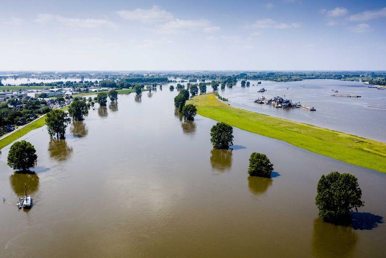 Dronefoto van ondergelopen uiterwaarden met links de Maas. Beeld ANP
