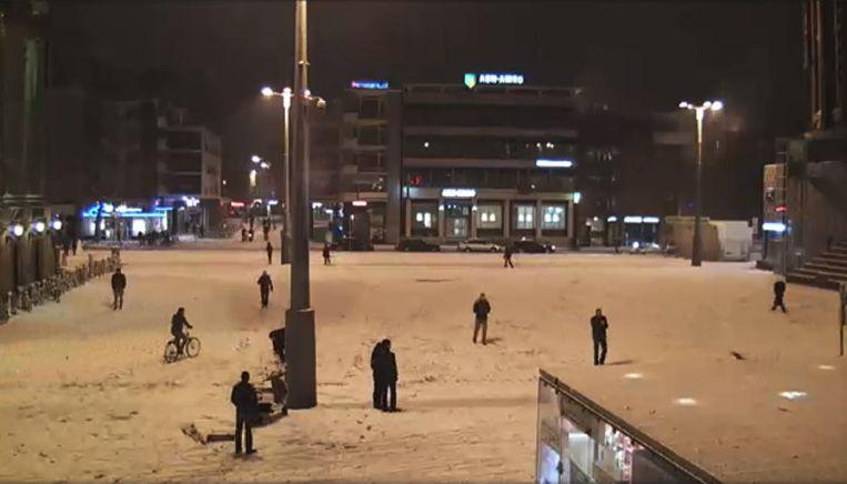 De Grote Markt in Groningen. Beeld Webcam Groningen