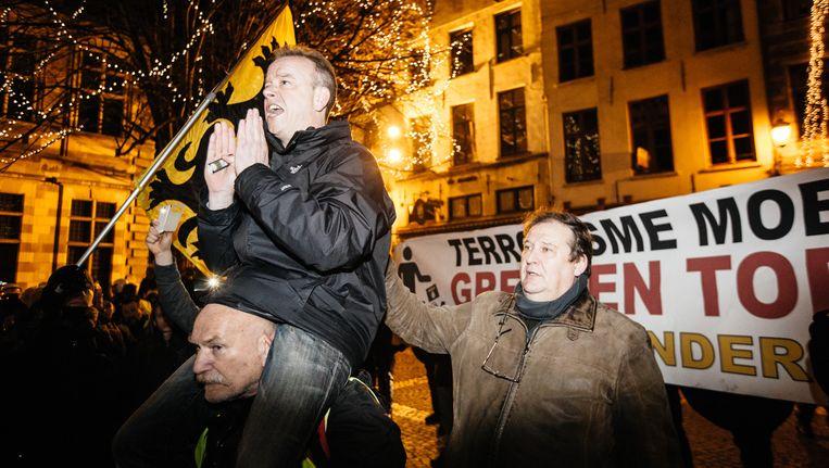 De verboden betoging van Pegida Vlaanderen op 2 maart Beeld Wouter Van Vooren