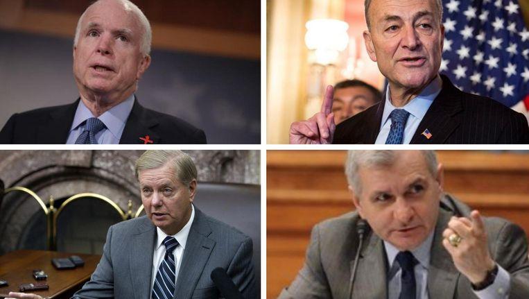 Republikeinen John McCain (links boven) en Lindsey Graham (links onder) en Democraten Charles Schumer (rechts boven) en Jack Reed (rechts onder)