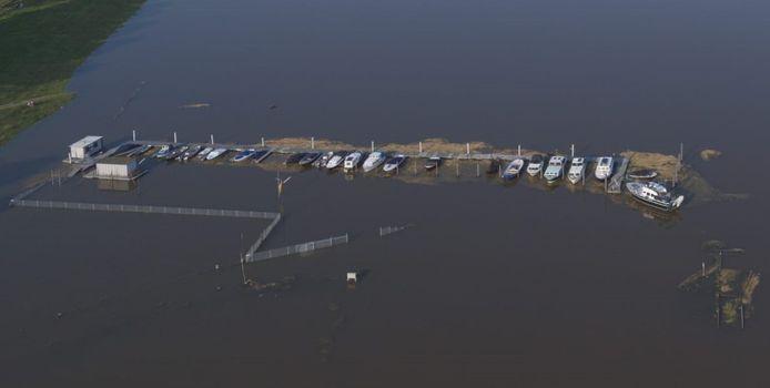 De steigers van Watersportvereniging Genderen buigen krom door het hooi dat ook onder water tegen de loopplanken drukt.