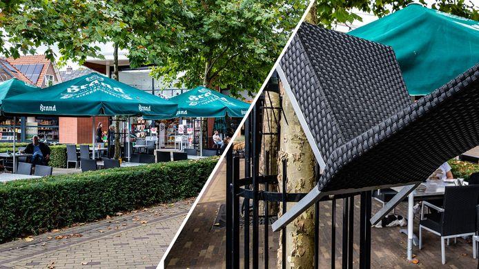 Op het terras van Café de Hamer in Twello hebben afgelopen weekend een aantal jongeren vernielingen gepleegd. Ze gooiden stoelen en tafels in de rondte, waarvan enkelen in bomen terechtkwamen.
