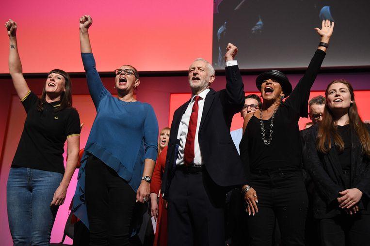Jermy Corbyn na zijn toespraak. Beeld AFP