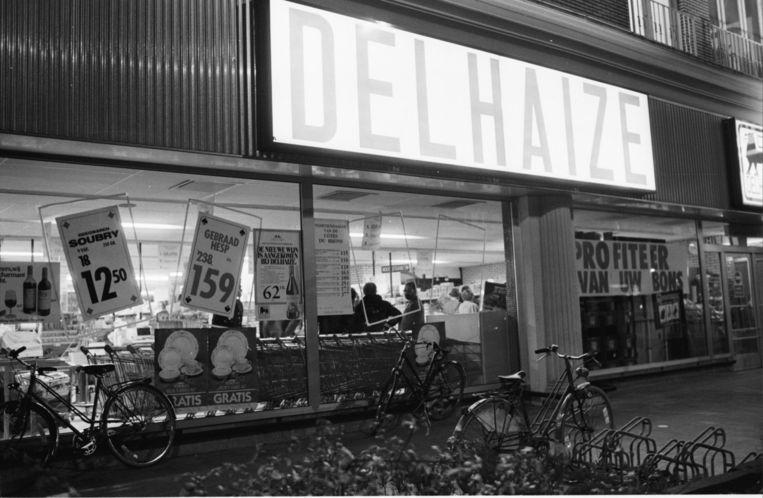 De Delhaize-supermarkt in Aalst, waar op 9 november 1985 de laatste overval van de Bende van Nijvel plaatsvond. Beeld BELGA