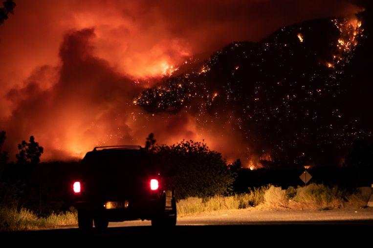 De bossen in de buurt van Lytton, British Columbia, staan in brand. (01/07/2021) Beeld AP