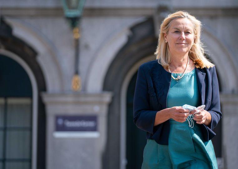 D66-leider Sigrid Kaag donderdag na afloop van haar gesprek met informateur Mariëtte Hamer. Beeld ANP