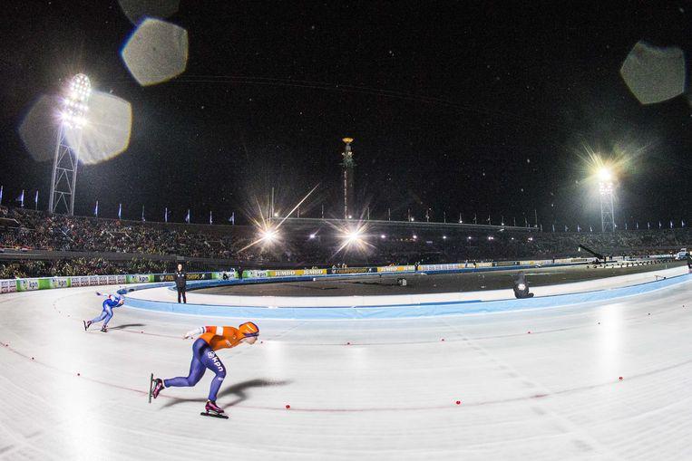 Antoinette de Jong in actie in het Olympisch Stadion. Ze durfde nog geen vakantie te boeken. Beeld ANP