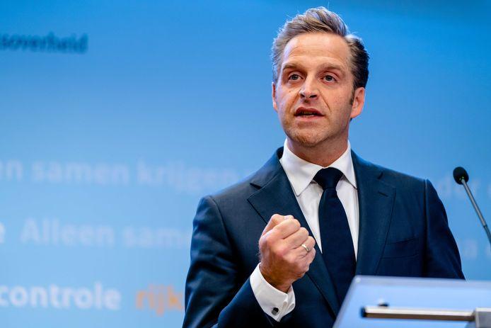 Minister Hugo de Jonge van Volksgezondheid, Welzijn en Sport (CDA) tijdens een persconferentie eerder dit jaar.