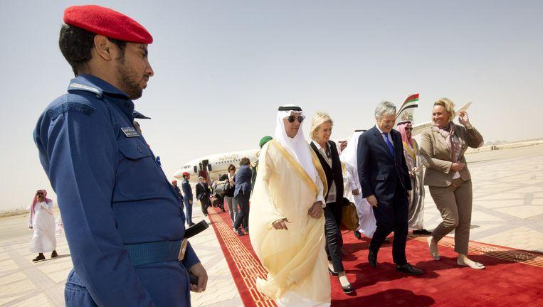 Een handelsmissie naar Saudi-Arabië met prinses Astrid, Didier Reynders (MR) en Celine Fremault (cdH). Beeld BELGA