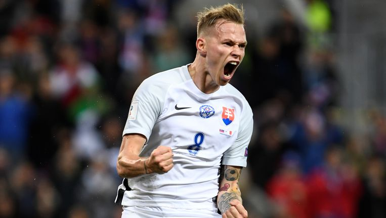 Vreugde bij de Slowaak Ondrej Duda na de 3-0 tegen Malta