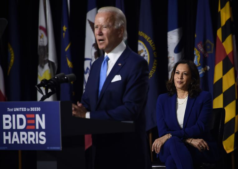 Joe Biden en de verkozen vicepresident Kamala Harris. Beeld AFP