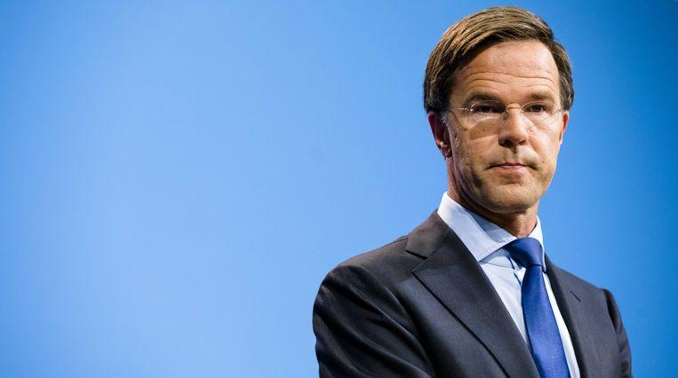 Premier Rutte tijdens de persconferentie na afloop van de wekelijkse ministerraad, 24 augustus 2018. Beeld ANP