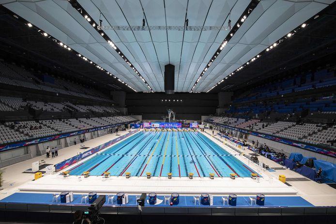 Het Tokyo Aquatics Centre krijgen de zes Poolse zwemmers niet te zien.