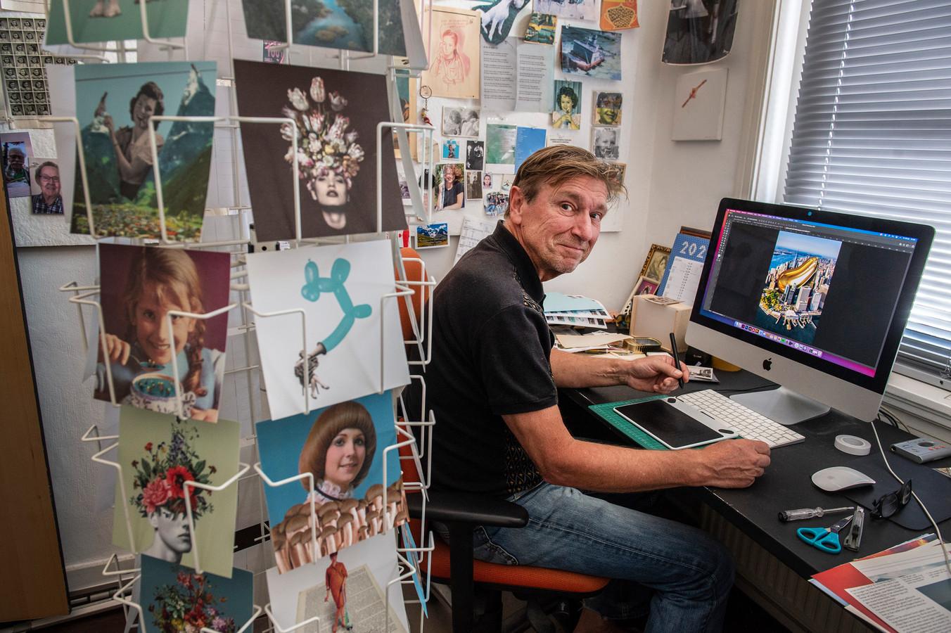 Toon Joosen toont in zijn werkruimte op de computer de afbeelding die hij  maakte bij een artikel over  het 'Golden Penis Syndrome' in de Amerikaanse Cosmopolitan