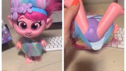 Trolls-pop uit Amerikaanse winkels gehaald na commotie over giechelknop ter hoogte van liesstreek