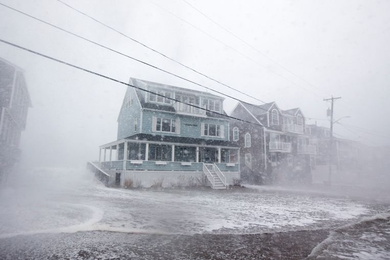 Stormweer in Scituate, Massachusetts.  Beeld Getty Images