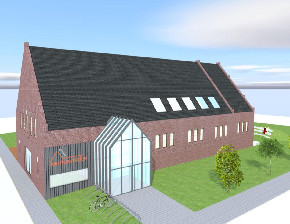 Het ontwerp 'Keirkestikkel' van de OLV-kerk in Nijlen.