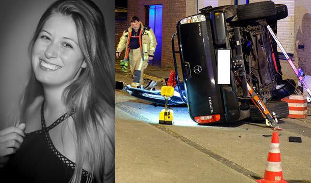 Links het slachtoffer Charlotte Gysel. Na het ongeval lag de straat vol brokstukken. De Mercedes X-Klasse van de aanrijder kwam pas 50 meter verder tot stilstand op zijn flank.