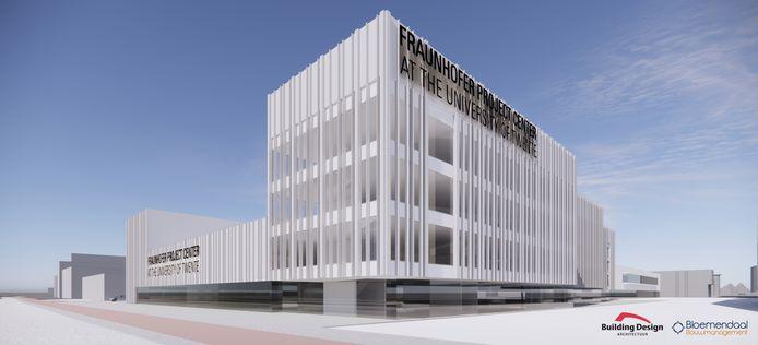 Een beeld van de beoogde nieuwe huisvesting voor Fraunhofer bij de toegang van het Kennispark, maar het is nu onzeker of het bouwplan wel doorgaat.