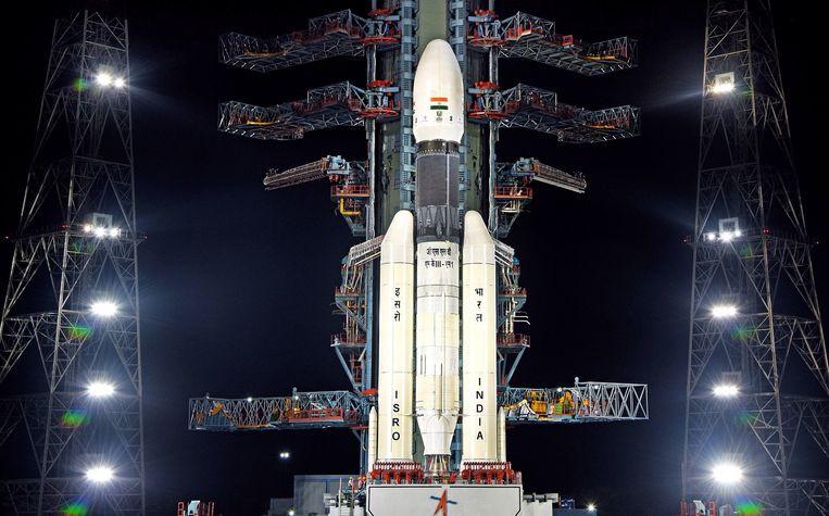 India doet vandaag een nieuwe poging om de maanmissie Chandrayaan-2 te lanceren. Beeld EPA