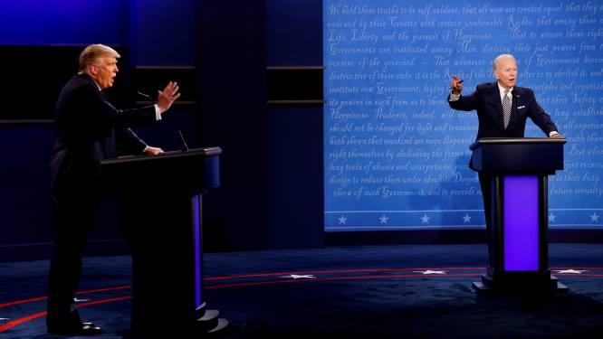"""Na chaotisch eerste debat gaan microfoons van Trump en Biden tijdelijk uit als de ander spreekt, Trump noemt dat """"gestoord"""""""