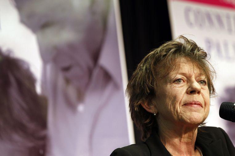 Connie Palmen tijdens een voorleessessie in Den Haag. Beeld anp