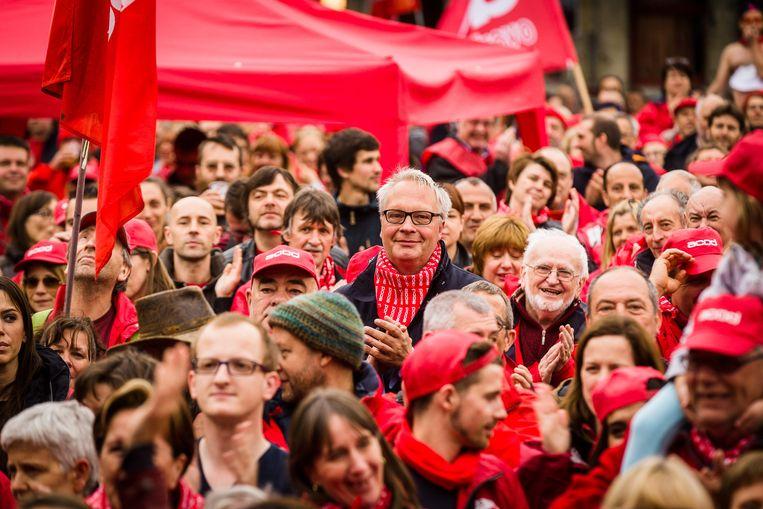 PVDA-PTB-voorzitter Peter Mertens tijdens een betoging in Gent. Beeld Belga