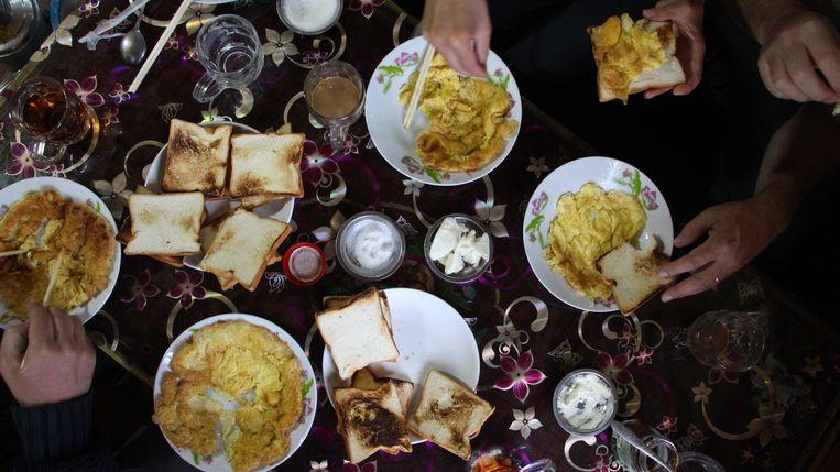 Typisch ontbijt, hoewel eieren eerder uitzonderlijk waren. Beeld RV