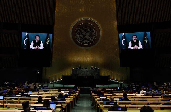 Imran Khan lors de son discours (virtuel) à l'Assemblée générale des Nations Unies vendredi.